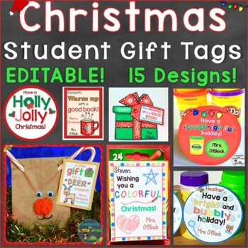 Christmas Student Gift Tags 15 Different EDITABLE Holiday Designs