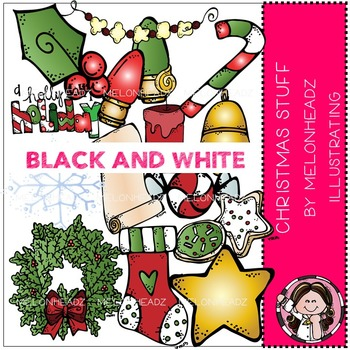 Christmas Stuff clip art - BLACK AND WHITE- by Melonheadz