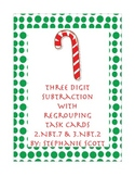 Christmas Style 3 Digit Subtraction With Regrouping Task Cards