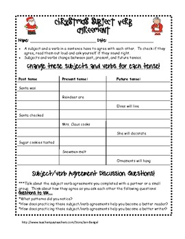 Christmas Subject/Verb Agreement Printables with CCSS!!