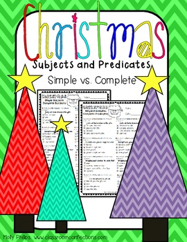 Christmas Worksheet: Subjects and Predicates Activity