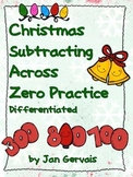 Christmas Subtracting Across Zero Practice