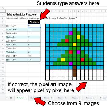 Christmas - Subtracting Like Fractions - Google Sheets Pixel Art