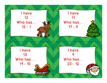 I Have Who Has Christmas Subtraction within 20 Game