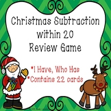 I Have Who Has Christmas Activity for 2nd Grade Math Subtraction within 20 Game