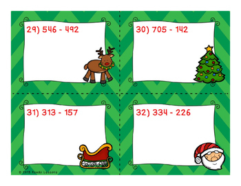 3 Digit Subtraction Christmas Task Cards