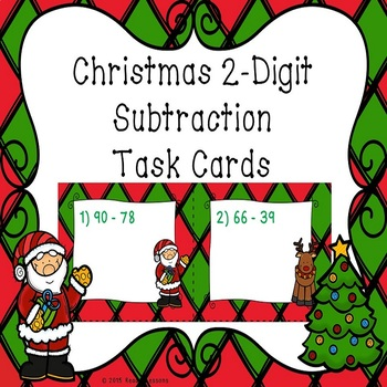 2 Digit Subtraction Christmas Task Cards
