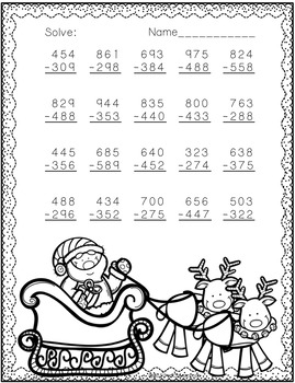 3 nbt 2 christmas themed 3 digit subtraction with regrouping tpt. Black Bedroom Furniture Sets. Home Design Ideas