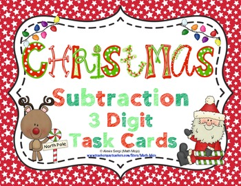 Christmas Subtraction (3 Digits) Task Cards