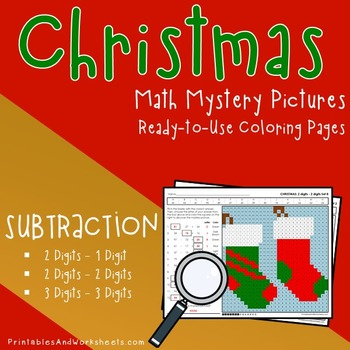 Christmas Subtraction Worksheets, Math Mystery Pictures Coloring Pages