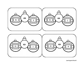 Christmas Subtraction Flash Cards 1-12