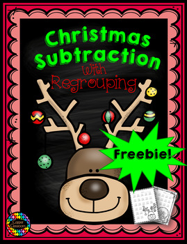 Free Three Digit Subtraction With Regrouping  Christmas Th