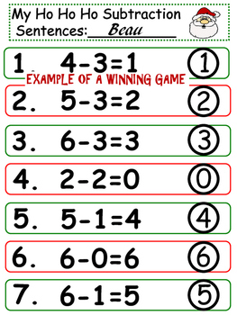 Christmas Subtraction Games~ Hands-On Fun