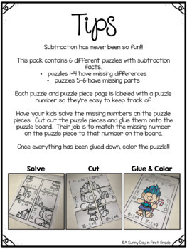 Christmas Subtraction Puzzles!