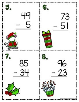 Christmas Subtraction Scoot Task Cards