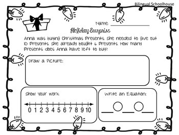 Christmas Subtraction Stories