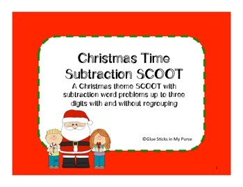 Christmas Subtraction Word Problems SCOOT
