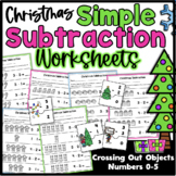 Simple Christmas Subtraction Worksheets Numbers 0-5