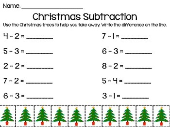 Christmas Subtraction to 10