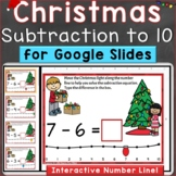 Christmas Subtraction to 10 with Number Line Digital Googl