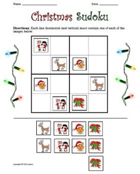 Christmas Sudoku.Christmas Sudoku For Kids Easy 4x4