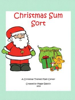 Christmas Sum Sort- A Christmas Themed Math Center