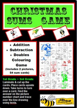 Christmas Sums Game: Addition, Subtraction, Doubles Colour
