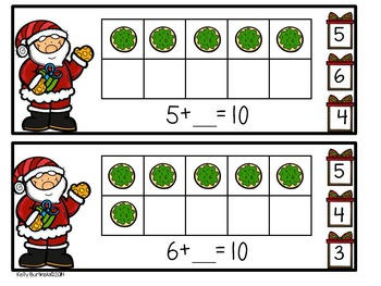 Christmas Sums of 5 and Sums of 10 Clip Cards