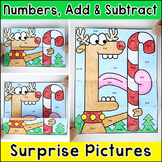 Christmas Surprise Pictures - Color by Numbers, Addition & Subtraction