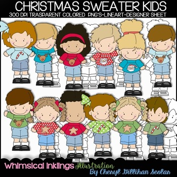 Christmas Sweater Kids Clipart Collection
