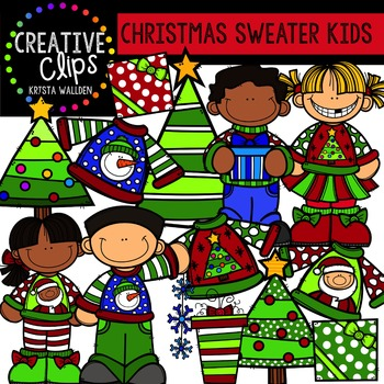 Christmas Sweater Kids - Christmas Clipart {Creative Clips Clipart}