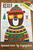Christmas Sweater Navidad Beber Color by Conjugation Spanish verbs No Prep