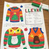 Christmas Sweater Navidad Llevar Color by conjugation Spanish verbs no prep