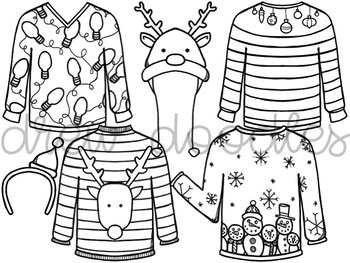 Christmas Sweaters- Black Line Version