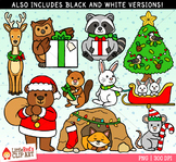 Forest Animals Christmas Clip Art