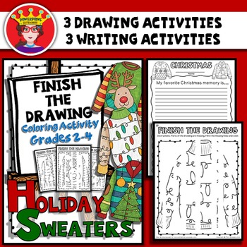 Christmas Sweaters Finish The Drawing Coloring and Writing Activity