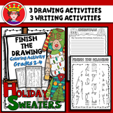 Christmas Sweaters Finish The Drawing Coloring and Writing