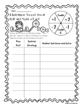 Christmas Sweet Tooth Roll Spin a Fact - Basic Facts (Addition /  Subtraction)
