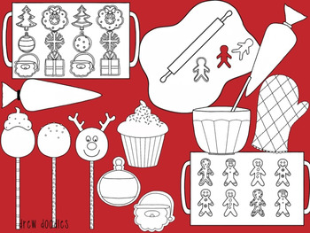 Christmas Sweets Digital Clip Art Set- Black Line Version