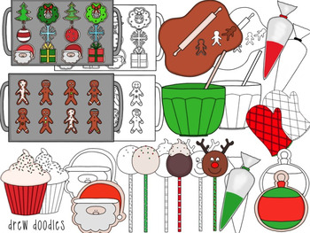 Christmas Sweets Digital Clip Art Set- Color and Black Line COMBO