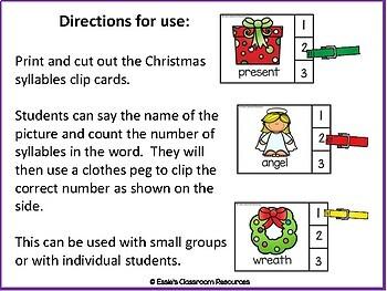 Christmas Syllable Clip Cards