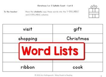 Christmas Syllable Count: Grades 1-2