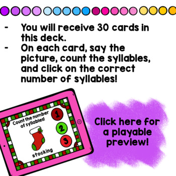 Christmas Syllable Counting Digital Game Boom Cards