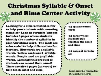 Christmas Syllable & Onset and Rime Center
