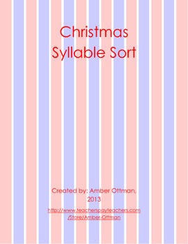 Christmas Syllable Sort (1 & 2 syllable words)