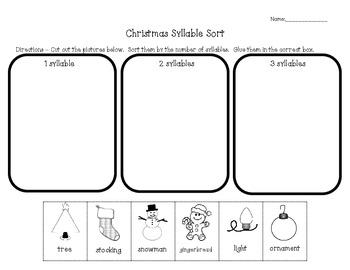 Christmas Syllable Sort Freebie