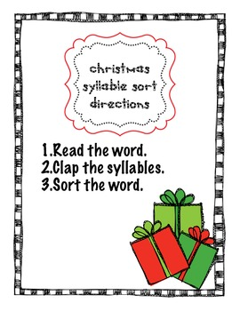 Christmas Syllable Sorting
