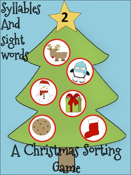 Christmas Syllables and Sight Words Sorting Activity