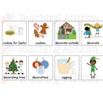Christmas Symbol Support Cards - Autism