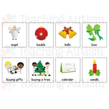 Christmas Symbol Communication Cards - Autism